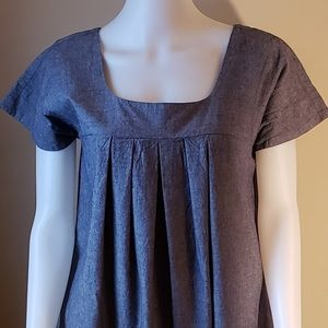 Michael Kors Gray Pleated Cotton Tunic Top Size L